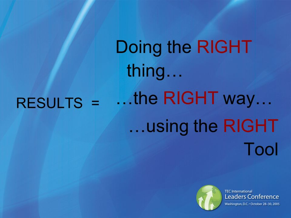 RESULTS = Doing the RIGHT thing… …the RIGHT way… …using the RIGHT Tool