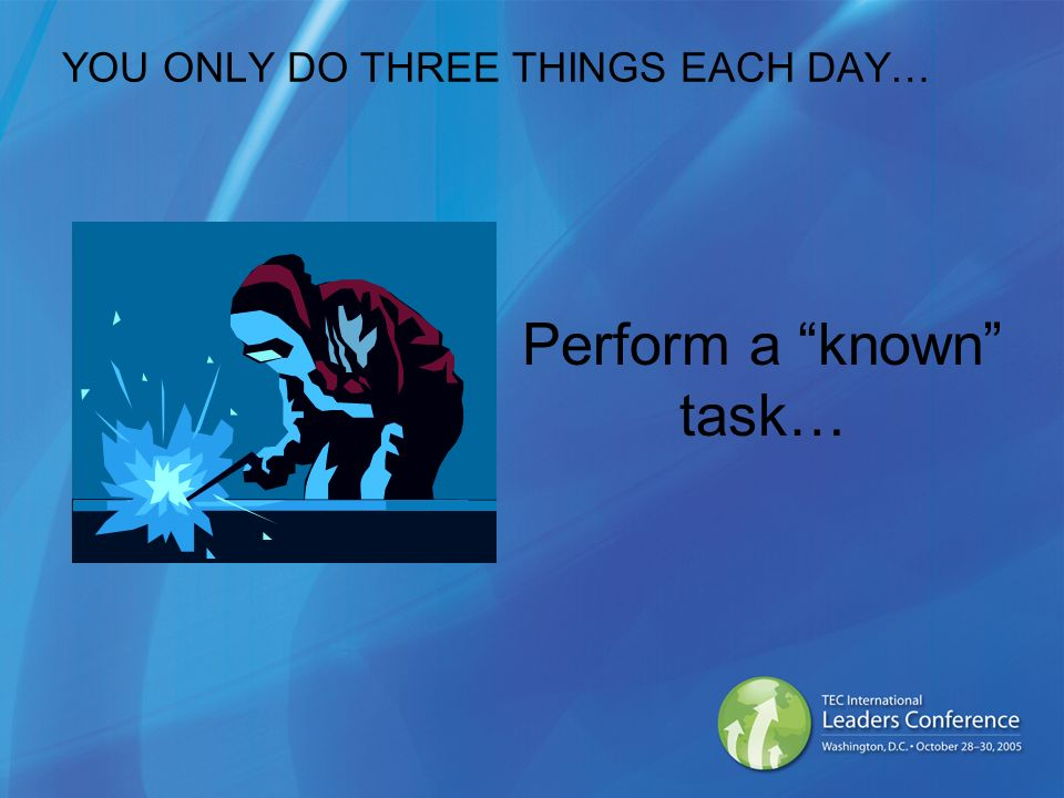 YOU ONLY DO THREE THINGS EACH DAY… Perform a known task…