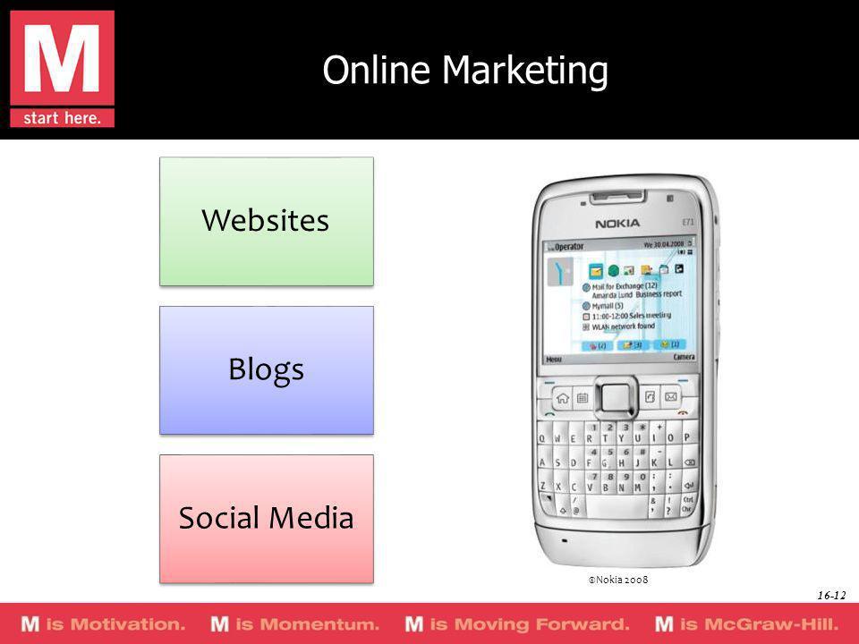 Online Marketing Websites Blogs Social Media ©Nokia 2008 16-12