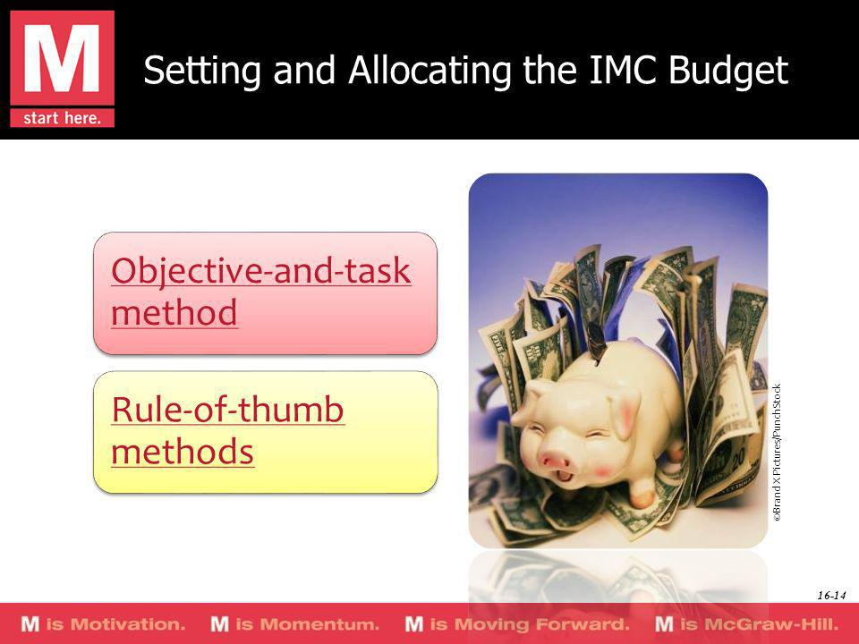 Setting and Allocating the IMC Budget Objective-and-task method Rule-of-thumb methods ©Brand X Pictures/PunchStock 16-14
