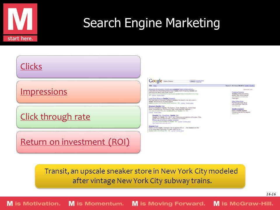Search Engine Marketing ClicksImpressionsClick through rateReturn on investment (ROI) Transit, an upscale sneaker store in New York City modeled after
