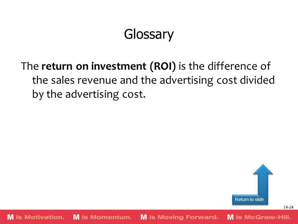 Return to slide The return on investment (ROI) is the difference of the sales revenue and the advertising cost divided by the advertising cost. Glossa