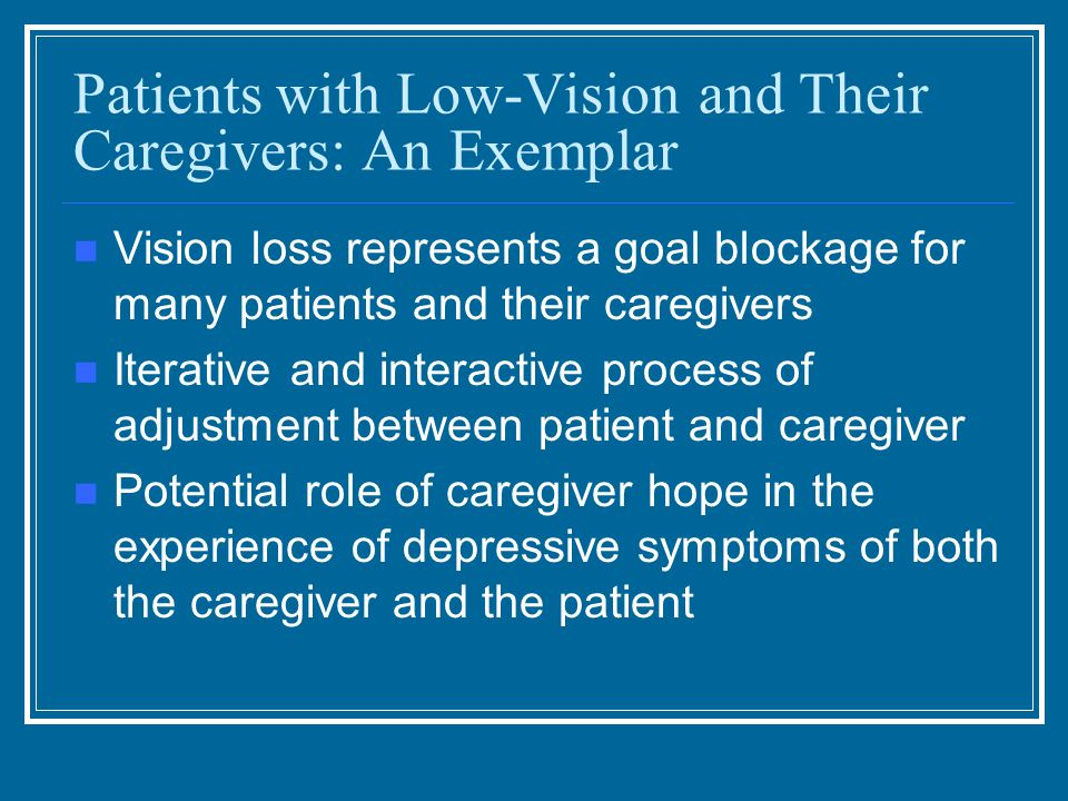 Patients with Low-Vision and Their Caregivers: An Exemplar Vision loss represents a goal blockage for many patients and their caregivers Iterative and