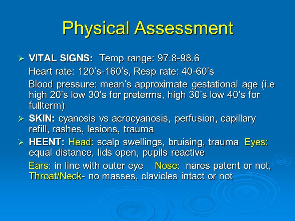 VITAL SIGNS: Temp range: 97.8-98.6 VITAL SIGNS: Temp range: 97.8-98.6 Heart rate: 120s-160s, Resp rate: 40-60s Heart rate: 120s-160s, Resp rate: 40-60