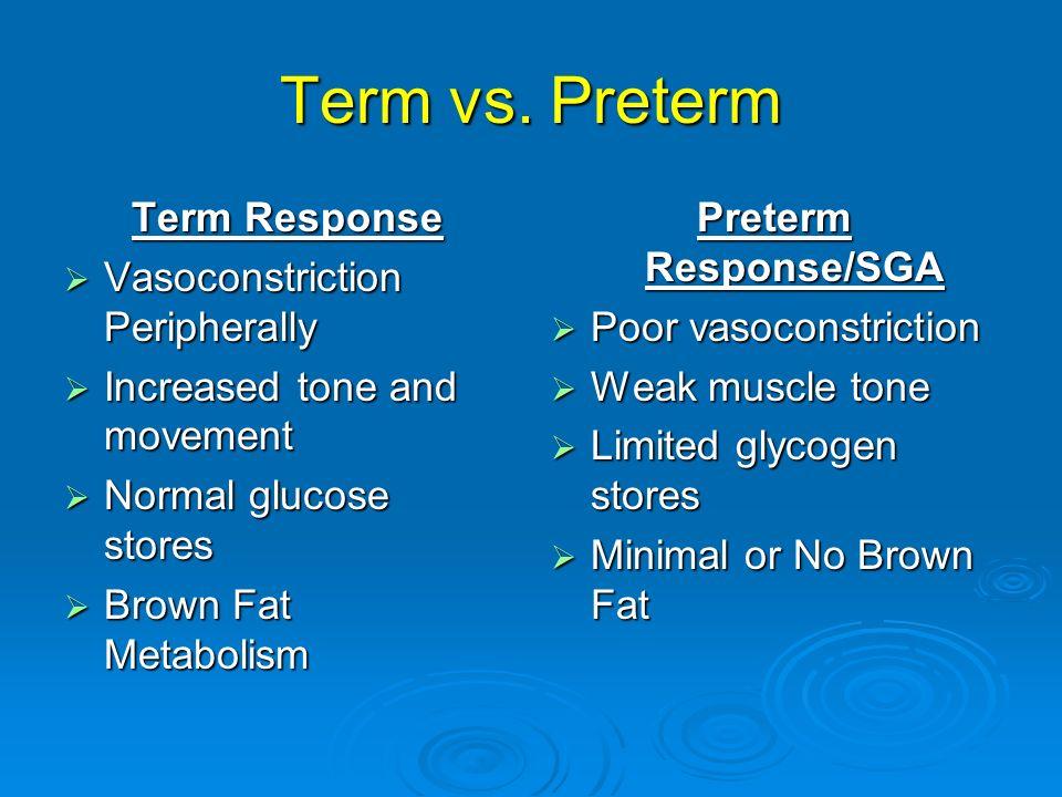 Term vs. Preterm Term Response Vasoconstriction Peripherally Vasoconstriction Peripherally Increased tone and movement Increased tone and movement Nor