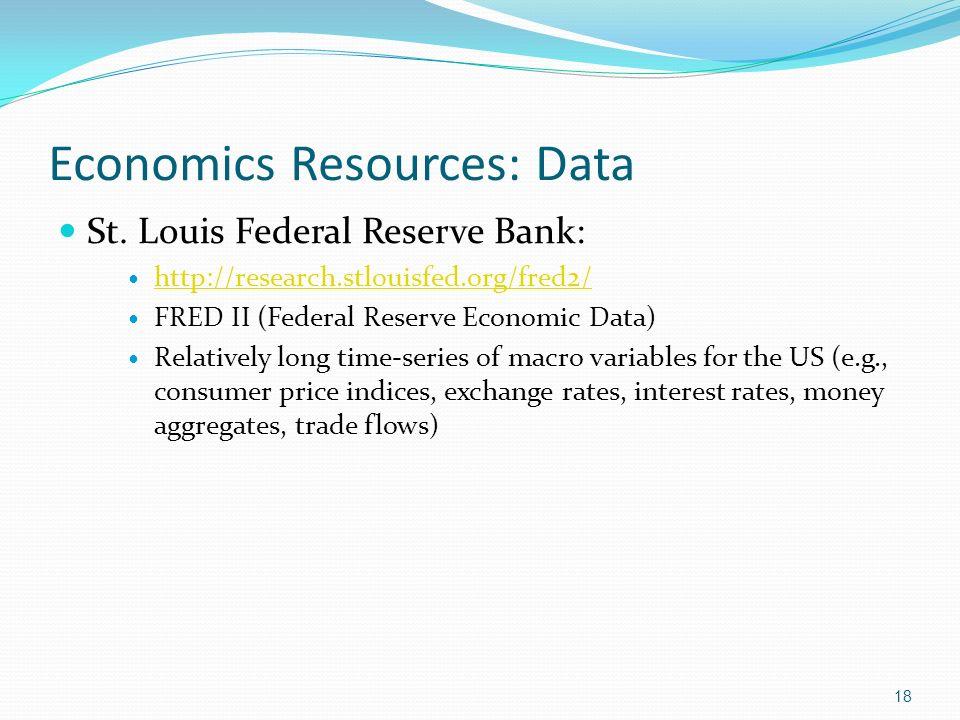 Economics Resources: Data St.