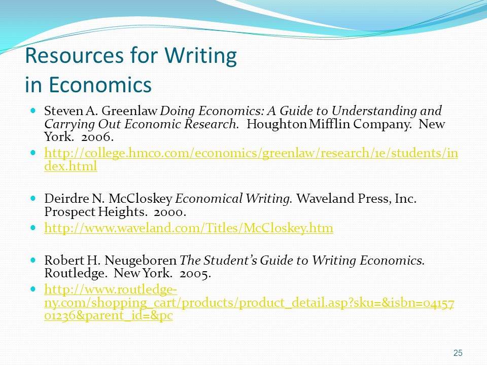 Resources for Writing in Economics Steven A.