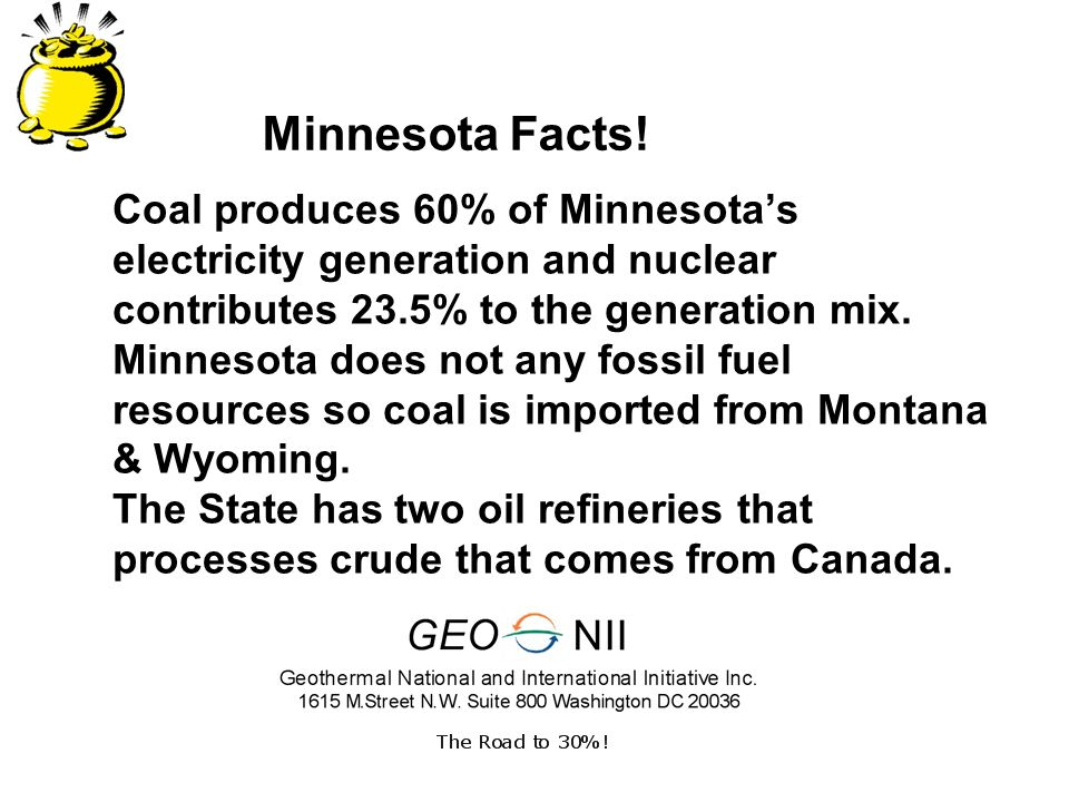 Coal produces 60% of Minnesotas electricity generation and nuclear contributes 23.5% to the generation mix.