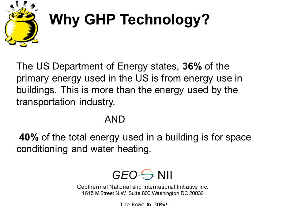 Why GHP Technology? The US Department of Energy states, 36% of the primary energy used in the US is from energy use in buildings. This is more than th