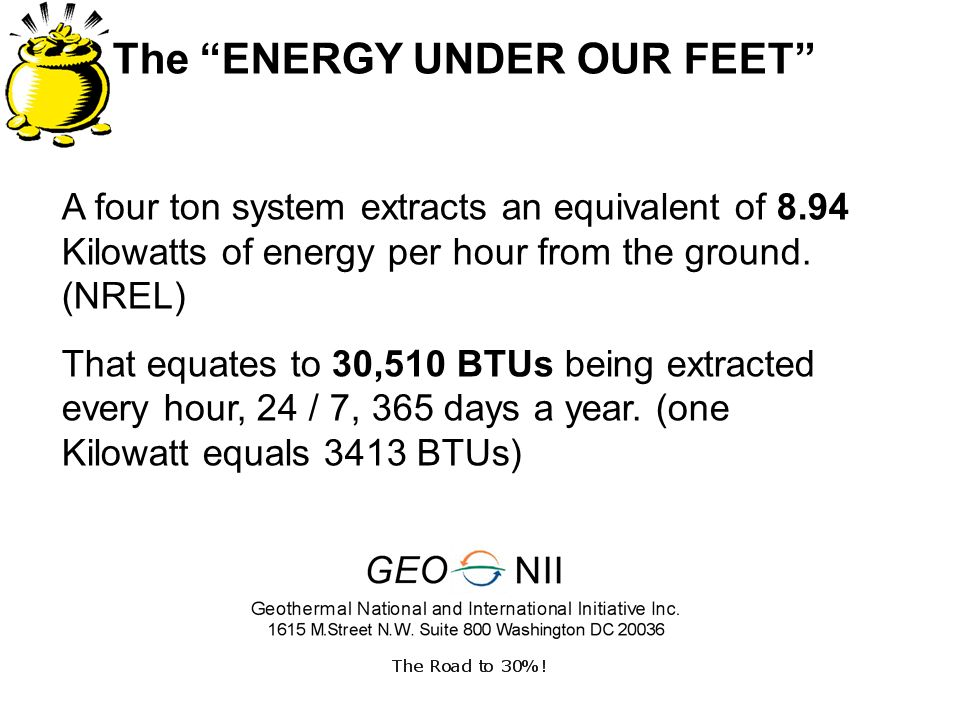 The ENERGY UNDER OUR FEET A four ton system extracts an equivalent of 8.94 Kilowatts of energy per hour from the ground.