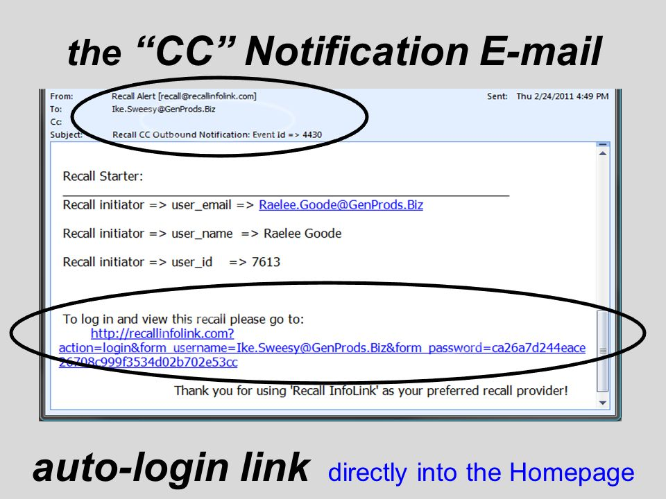 the CC Notification E-mail auto-login link directly into the Homepage