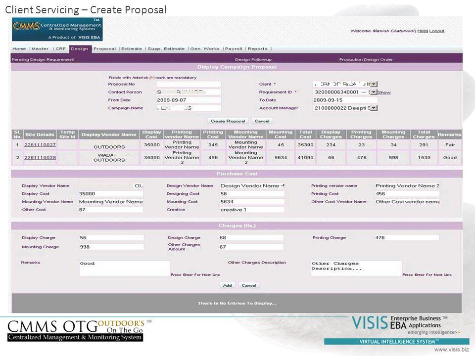 Client Servicing – Create Proposal