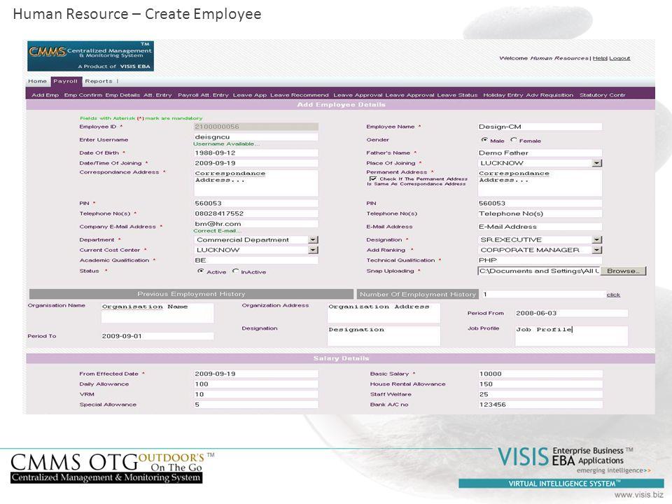 Human Resource – Create Employee