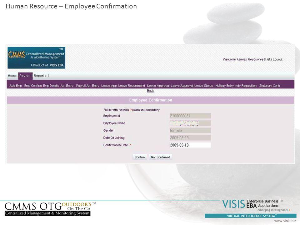 Human Resource – Employee Confirmation
