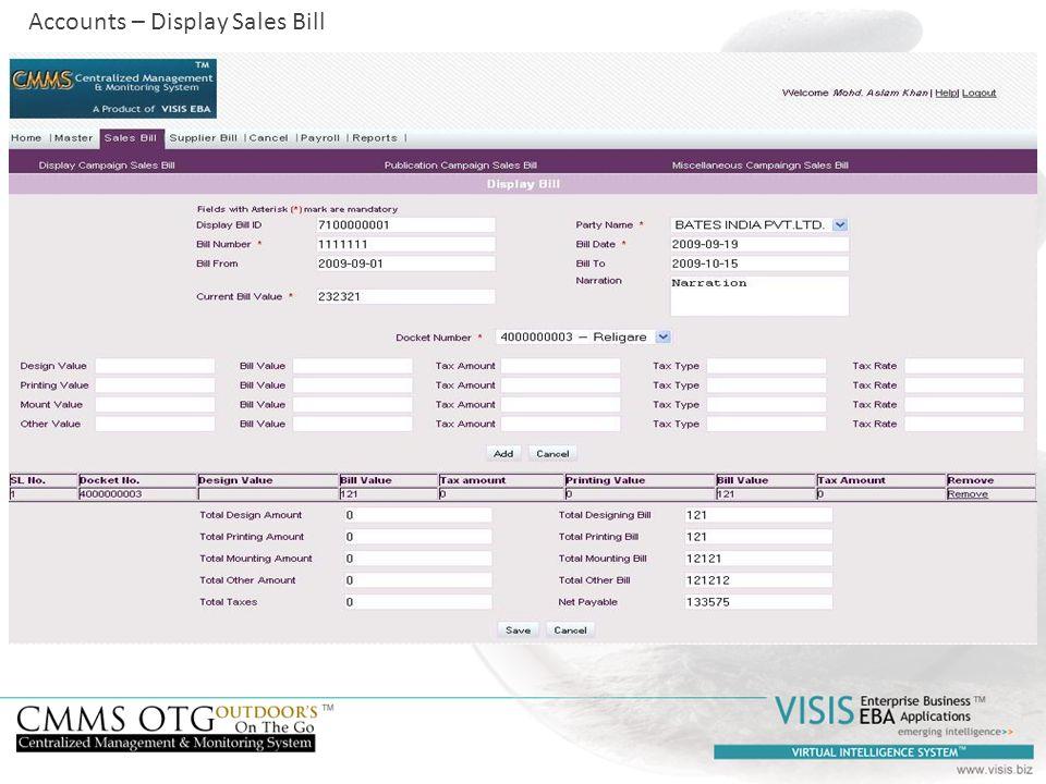 Accounts – Display Sales Bill