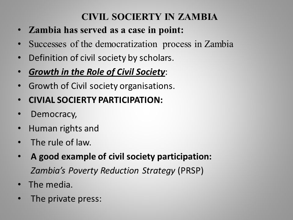 CIVIL SOCIERTY IN ZAMBIA Zambia has served as a case in point: Successes of the democratization process in Zambia Definition of civil society by scholars.