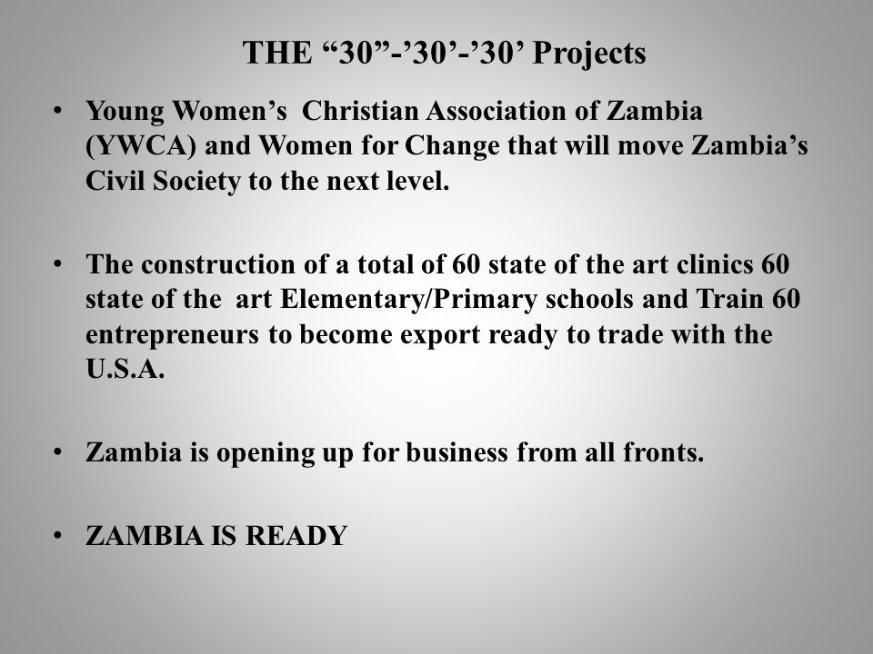 THE 30-30-30 Projects Young Womens Christian Association of Zambia (YWCA) and Women for Change that will move Zambias Civil Society to the next level.