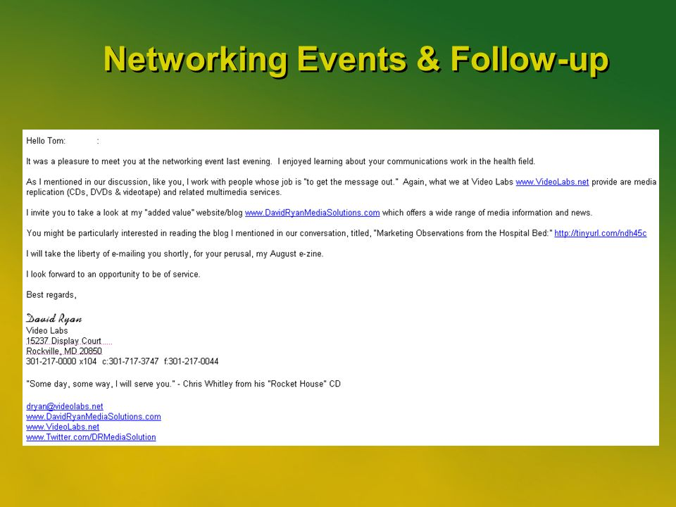 44 Networking Events & Follow-up