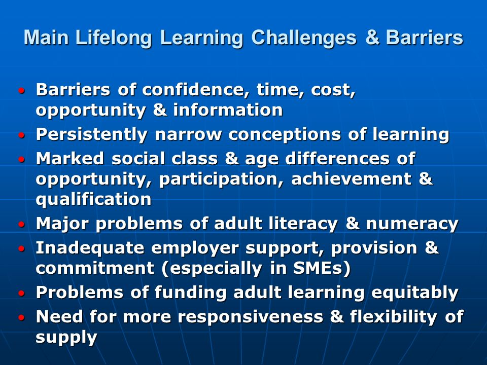 Main Lifelong Learning Challenges & Barriers Barriers of confidence, time, cost, opportunity & information Barriers of confidence, time, cost, opportu