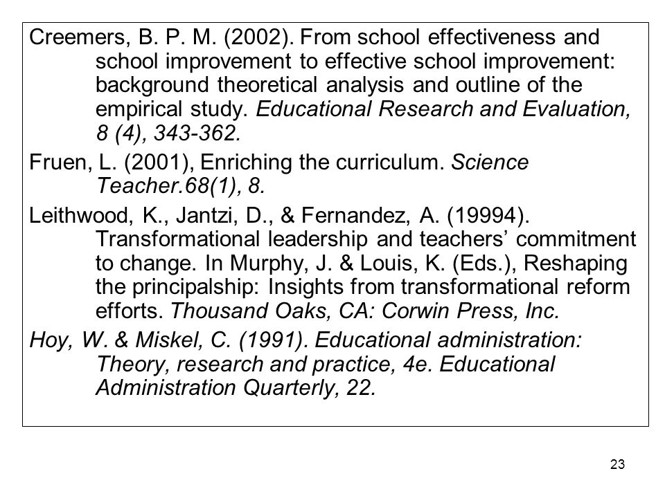 22 REFERENCES Baines, E., Blatchford, P., & Kutnick, P. (2003). Changes in grouping practices over primary and secondary school. International Journal