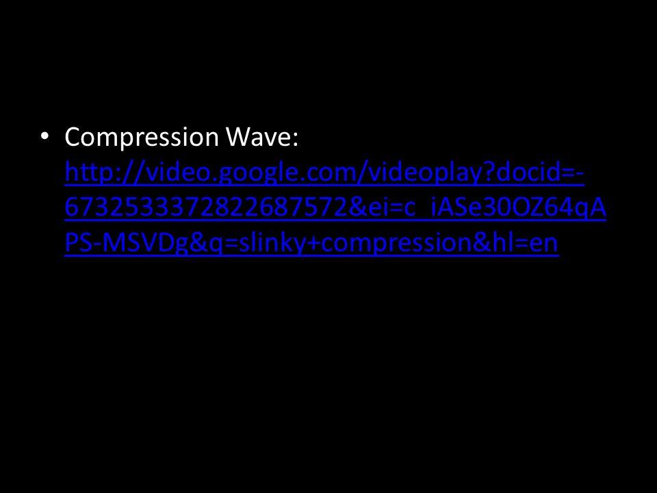 Compression Wave: http://video.google.com/videoplay docid=- 6732533372822687572&ei=c_iASe30OZ64qA PS-MSVDg&q=slinky+compression&hl=en http://video.google.com/videoplay docid=- 6732533372822687572&ei=c_iASe30OZ64qA PS-MSVDg&q=slinky+compression&hl=en