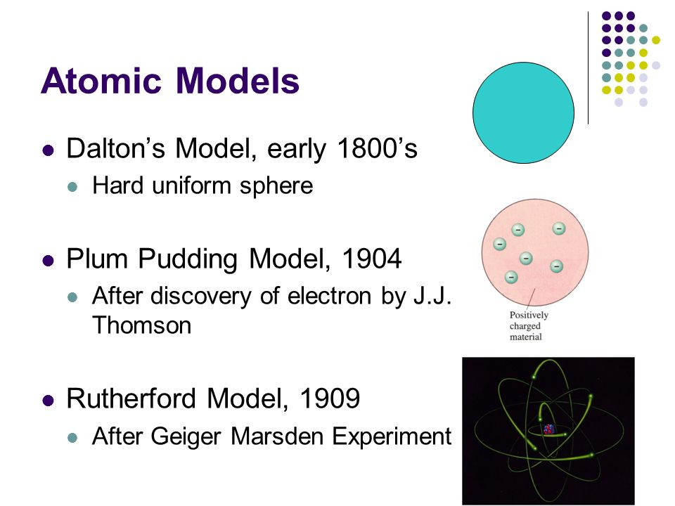 Atomic Models Daltons Model, early 1800s Hard uniform sphere Plum Pudding Model, 1904 After discovery of electron by J.J. Thomson Rutherford Model, 19