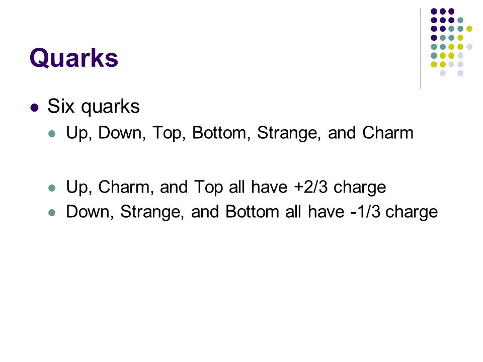 Quarks Six quarks Up, Down, Top, Bottom, Strange, and Charm Up, Charm, and Top all have +2/3 charge Down, Strange, and Bottom all have -1/3 charge