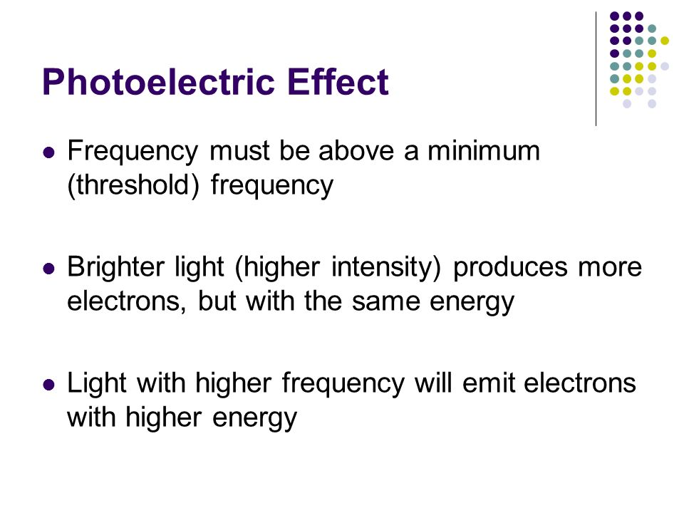 Photoelectric Effect Frequency must be above a minimum (threshold) frequency Brighter light (higher intensity) produces more electrons, but with the s