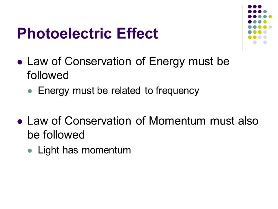 Law of Conservation of Energy must be followed Energy must be related to frequency Law of Conservation of Momentum must also be followed Light has mom