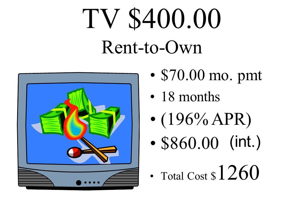TV $400.00 Finance Company 36% A.P.R. 18 mo. Pmts. $29.00 per mo. $123.00 int. Total Cost $ 523