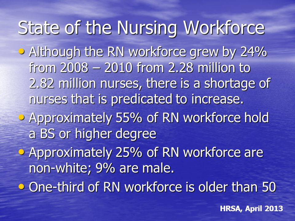State of the Nursing Workforce Although the RN workforce grew by 24% from 2008 – 2010 from 2.28 million to 2.82 million nurses, there is a shortage of nurses that is predicated to increase.