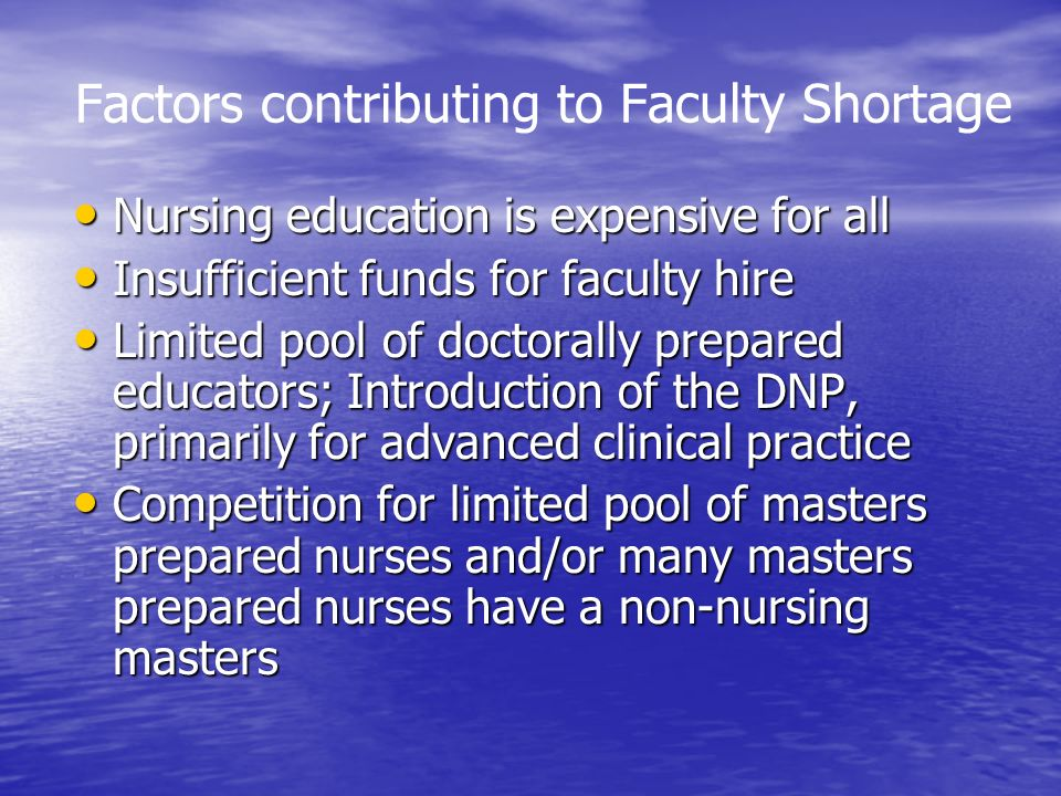 Factors contributing to Faculty Shortage Nursing education is expensive for all Nursing education is expensive for all Insufficient funds for faculty