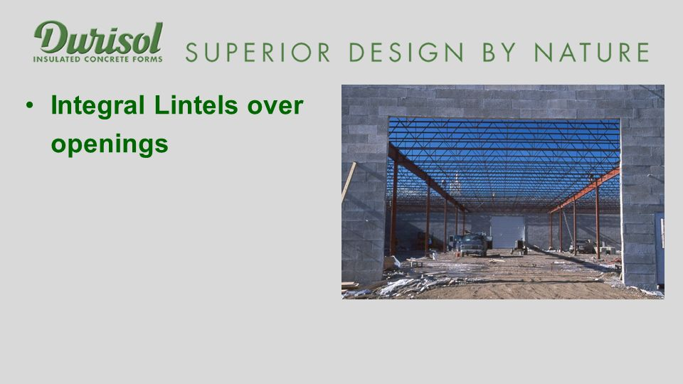 Integral Lintels over openings