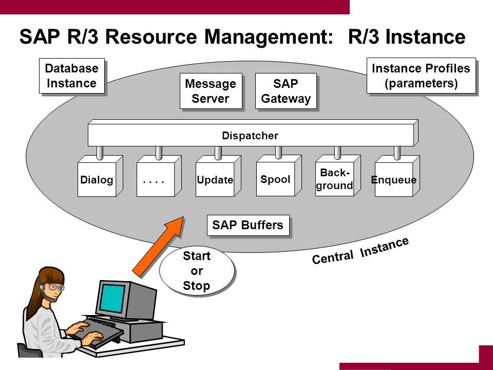 SAP R/3 Resource Management: R/3 Instance Dialog.. Update Spool Back- ground Enqueue Dispatcher Database Instance Database Instance Message Server Mes