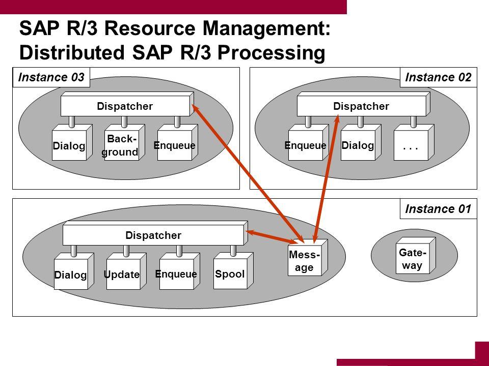 SAP R/3 Resource Management: Distributed SAP R/3 Processing DialogUpdate Enqueue Spool Dispatcher Mess- age Gate- way Instance 01 Enqueue Dialog... Di