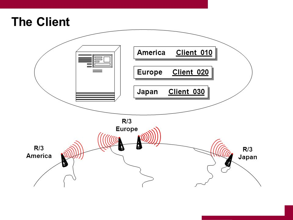 The Client R/3 America R/3 Europe R/3 Japan America Client 010 Japan Client 030 Europe Client 020