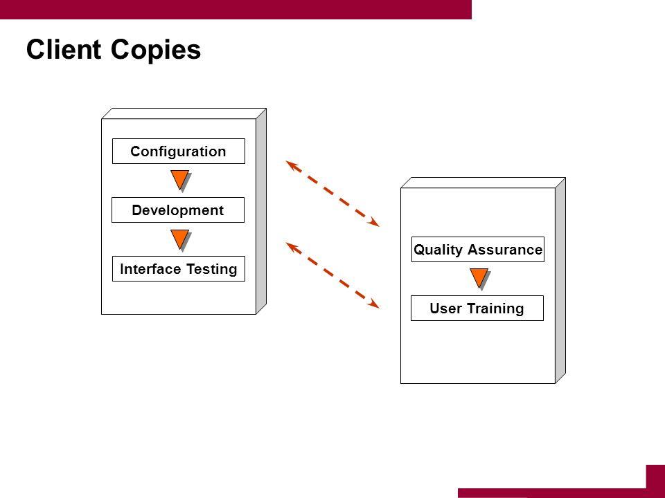 Client Copies Configuration Development Interface Testing Quality Assurance User Training