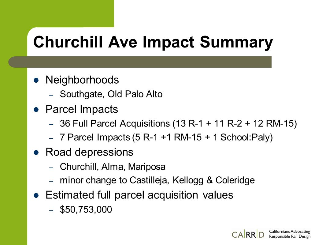 Churchill Ave Impact Summary Neighborhoods – Southgate, Old Palo Alto Parcel Impacts – 36 Full Parcel Acquisitions (13 R-1 + 11 R-2 + 12 RM-15) – 7 Parcel Impacts (5 R-1 +1 RM-15 + 1 School:Paly) Road depressions – Churchill, Alma, Mariposa – minor change to Castilleja, Kellogg & Coleridge Estimated full parcel acquisition values – $50,753,000