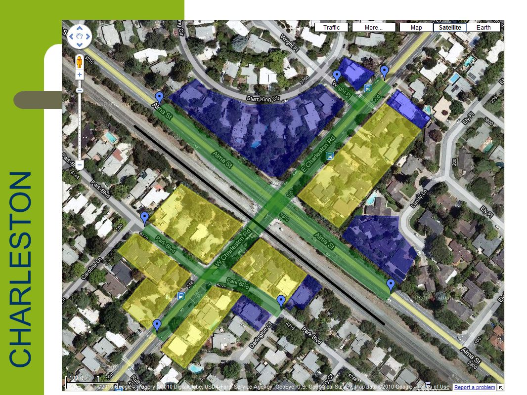 Charleston Road Impact Summary Neighborhoods – Charleston Meadows, Greenmeadow, Fairmeadow Parcel Impacts – 23 Full Parcel Acquisitions (all R-1) – 16 Partial impacts (all R-1) Road depressions – Charleston, Alma, Park and Wright Estimated full parcel acquisition values – $26,087,000