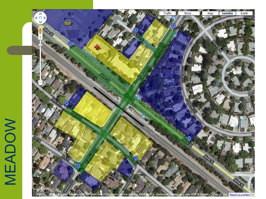 Meadow Drive Impact Summary Neighborhoods – Charleston Meadows, Ventura, Fairmeadow, Midtown Parcel Impacts – 24 Full Parcel Acquisitions (22 R-1 + 1 RM-30 + 1 CN) – 19 Parcel Impacts (18 R-1 + 1 PC:Alma Plaza) Road depressions – Meadow, Alma, Park, 2 nd and Emerson Estimated full parcel acquisition values – $21,072,000