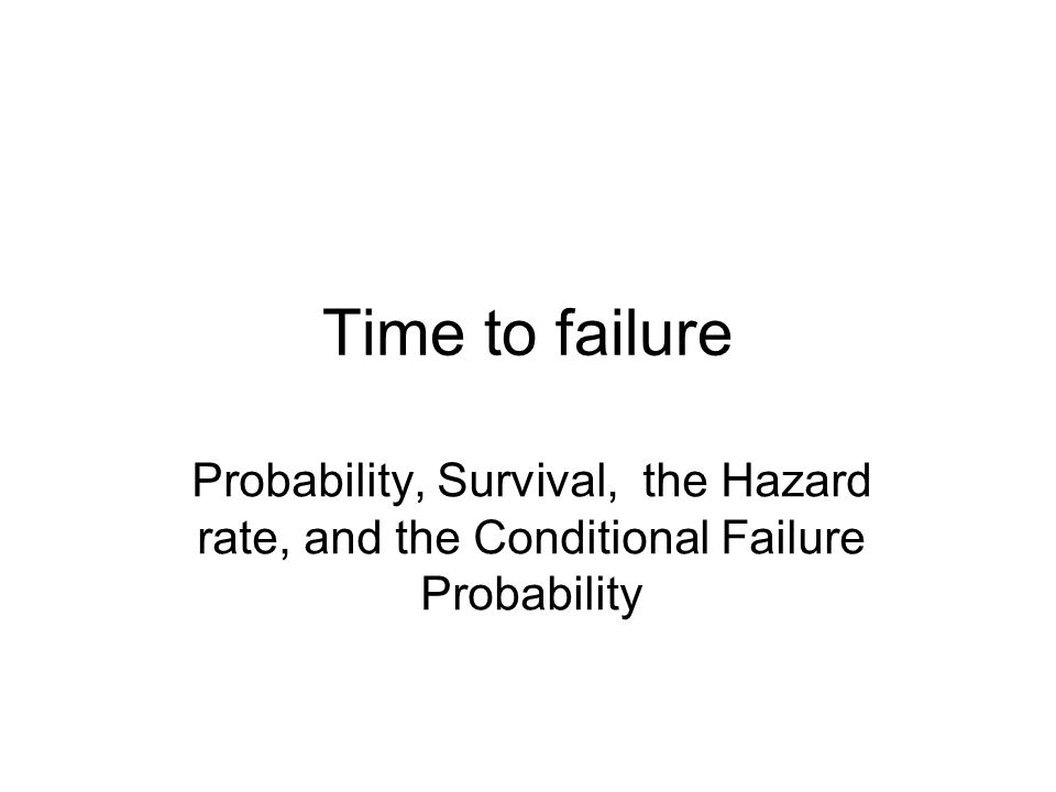 Time to failure Probability, Survival, the Hazard rate, and the Conditional Failure Probability