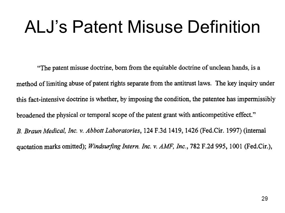 29 ALJs Patent Misuse Definition