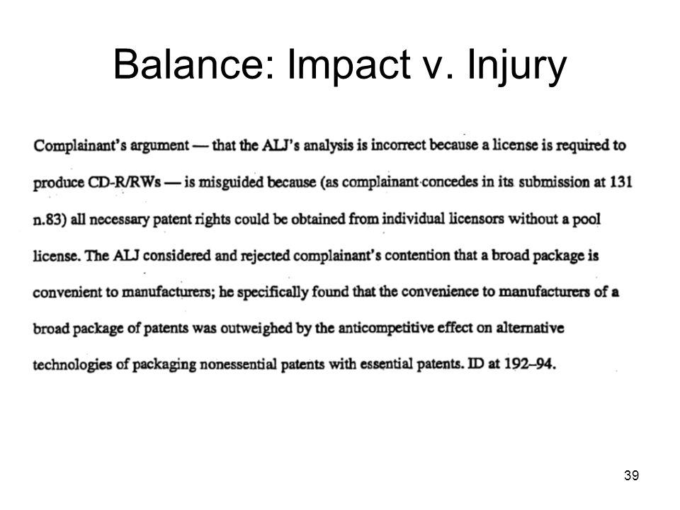 39 Balance: Impact v. Injury