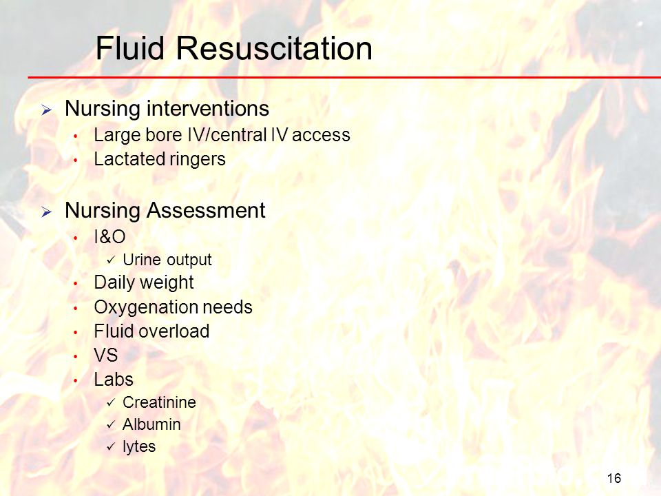 16 Fluid Resuscitation Nursing interventions Large bore IV/central IV access Lactated ringers Nursing Assessment I&O Urine output Daily weight Oxygena