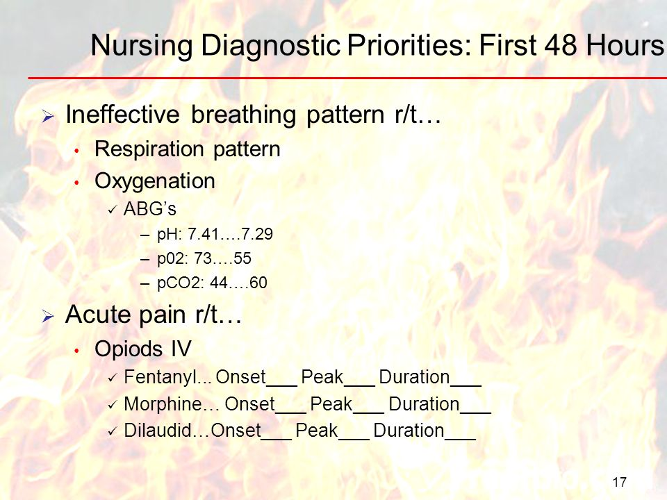 17 Nursing Diagnostic Priorities: First 48 Hours Ineffective breathing pattern r/t… Respiration pattern Oxygenation ABGs –pH: 7.41….7.29 –p02: 73….55