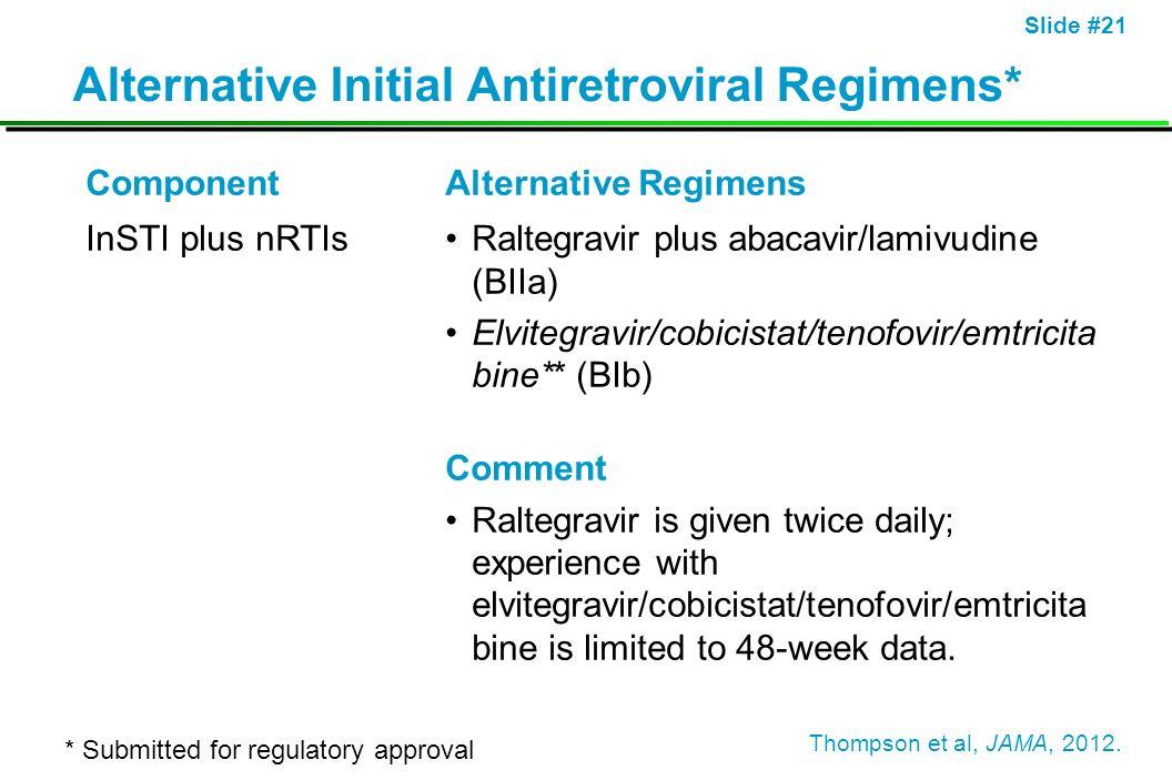 Slide #21 Alternative Initial Antiretroviral Regimens* ComponentAlternative Regimens InSTI plus nRTIsRaltegravir plus abacavir/lamivudine (BIIa) Elvit