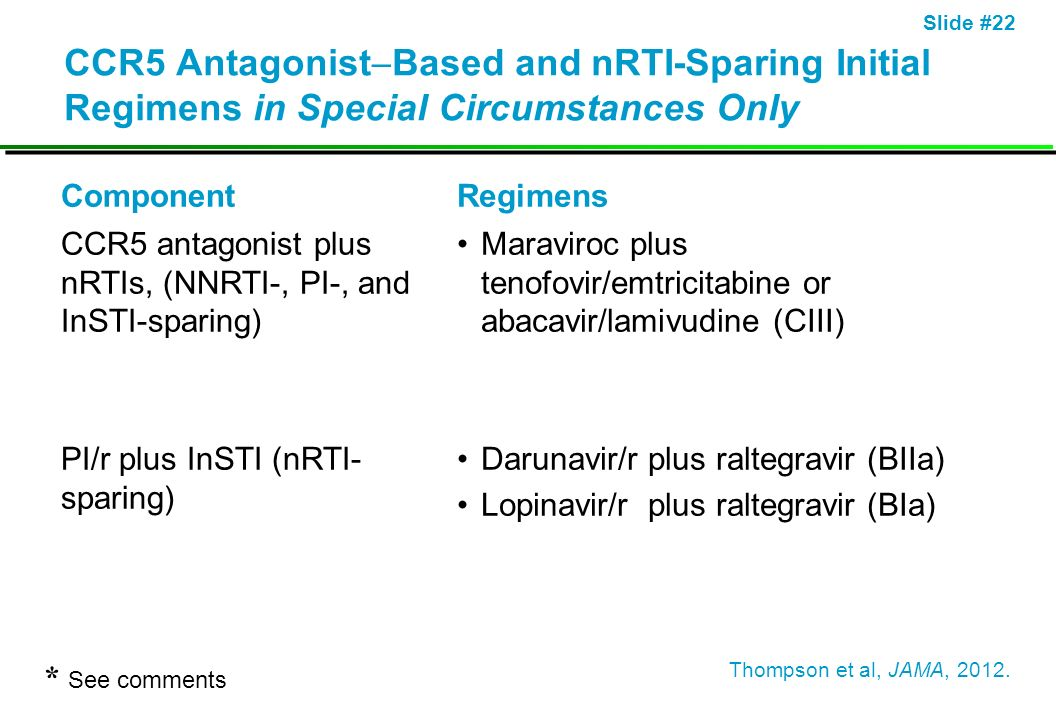Slide #22 CCR5 Antagonist Based and nRTI-Sparing Initial Regimens in Special Circumstances Only ComponentRegimens CCR5 antagonist plus nRTIs, (NNRTI-,