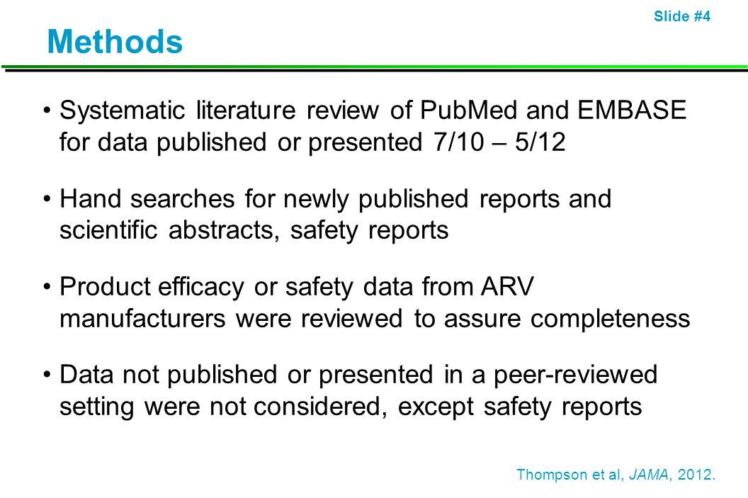 Slide #4 Methods Systematic literature review of PubMed and EMBASE for data published or presented 7/10 – 5/12 Hand searches for newly published repor