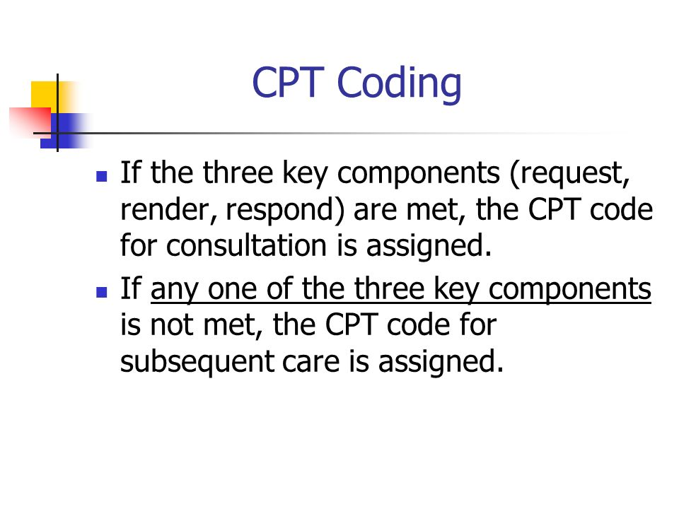 CPT Coding If the three key components (request, render, respond) are met, the CPT code for consultation is assigned. If any one of the three key comp