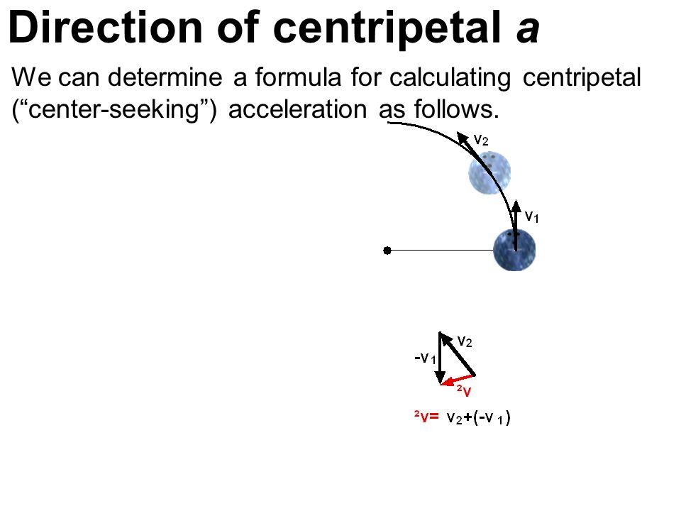 Direction of centripetal a We can determine a formula for calculating centripetal (center-seeking) acceleration as follows.